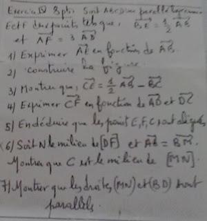 Calcul vectoriel exercice 2