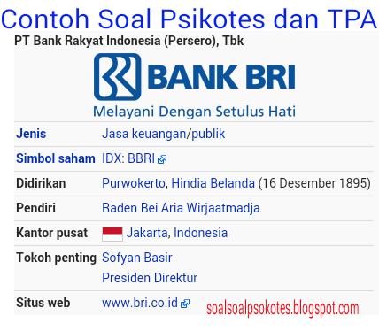 Contoh Soal Psikotes Bumn Amp Tpa Bank Bri Tahun 2018 Jawabannya Gratis Pdf Download Contoh Soal