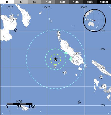 Epicentro sismo 6,8 grados en Papúa Nueva Guinea, el 07 de Diciembre 2014