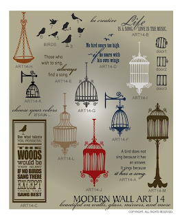 Image Vinyl decal birdcage decor