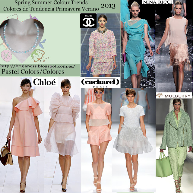 Pastel. Spring summer Colour trends Colores de tendencia primavera verano 2013 Pasarela Catwalk chloé cacharel mulberry nina ricci chanel