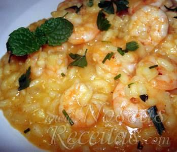 receita de risoto com camarão delicioso