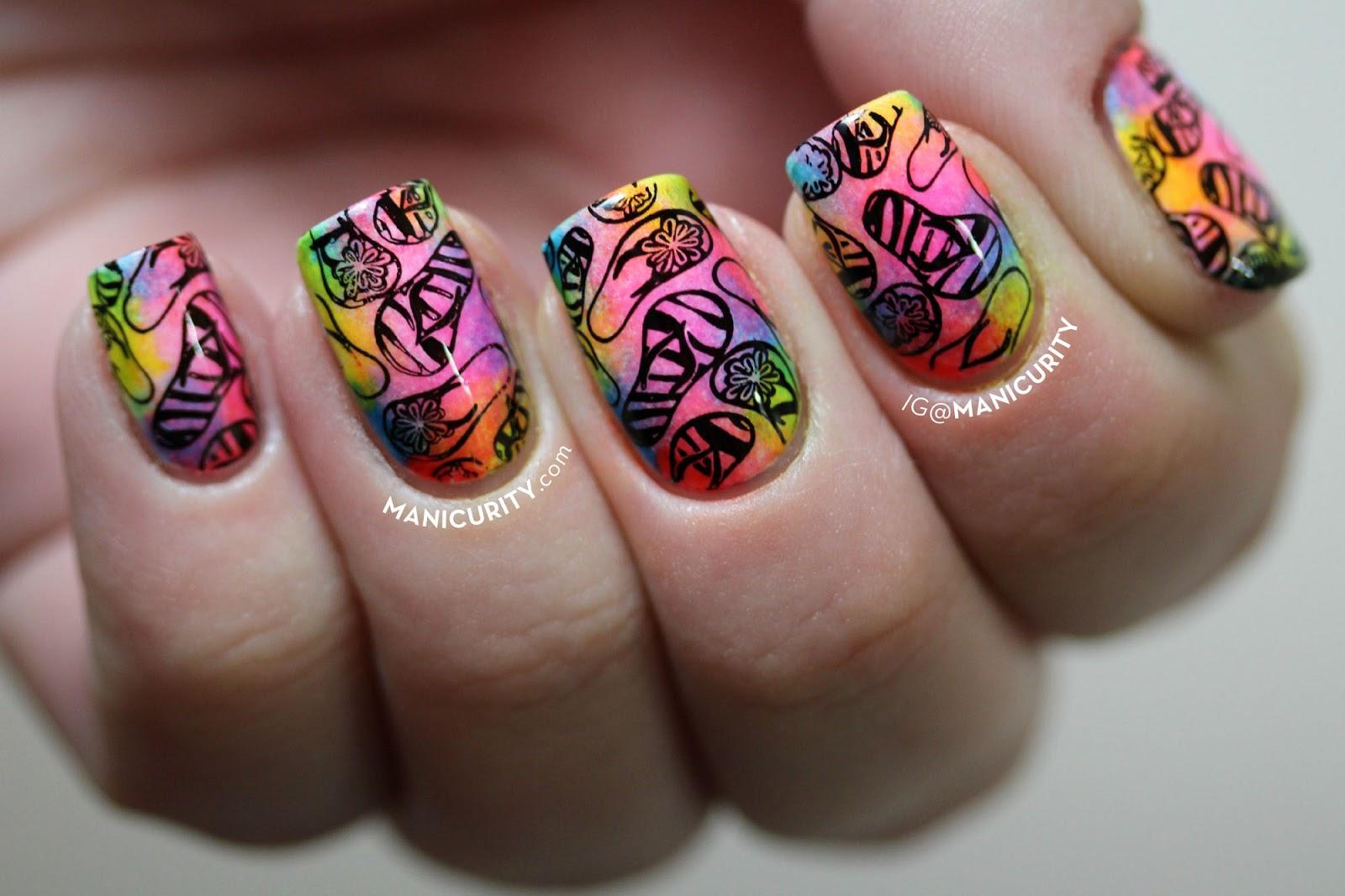 The Digit Al Dozen Soft Tie Dye Neon Flip Flop Nail Art