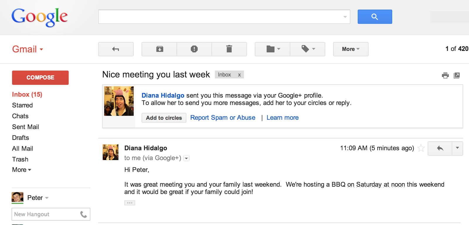 Diana has sent an email to Peter and Peter decides if he wants to add ...