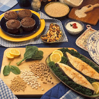 Nuts, oatmeal muffins, grains and fish