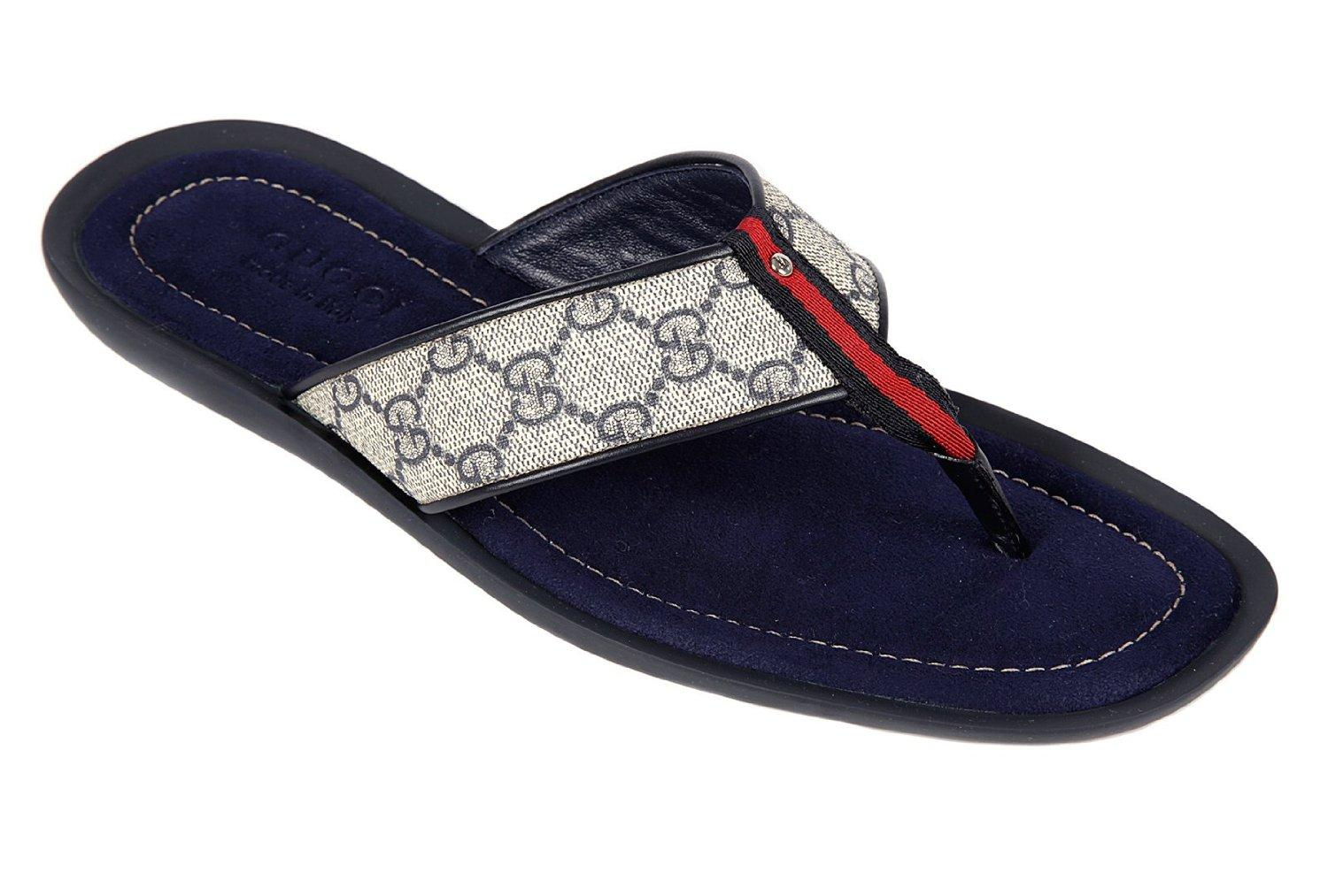 Flip Flops Leather blu Sandals For Men With A Design Pattern On The