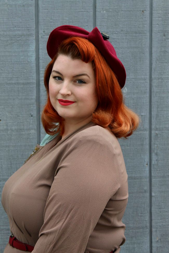 vintage pageboy hairstyle and red 1940s hat from Va Voom Vintage with Brittany