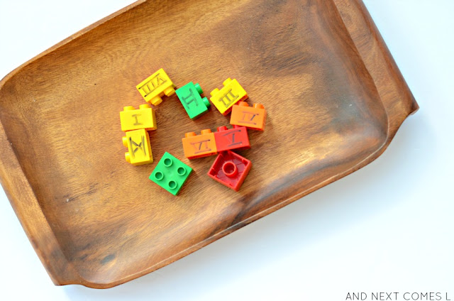 LEGO math activity for kids to learn about Roman numerals from And Next Comes L