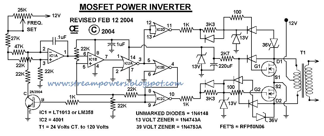 Simple 1000W Power Inverter circuit diagram Electronic Circuits