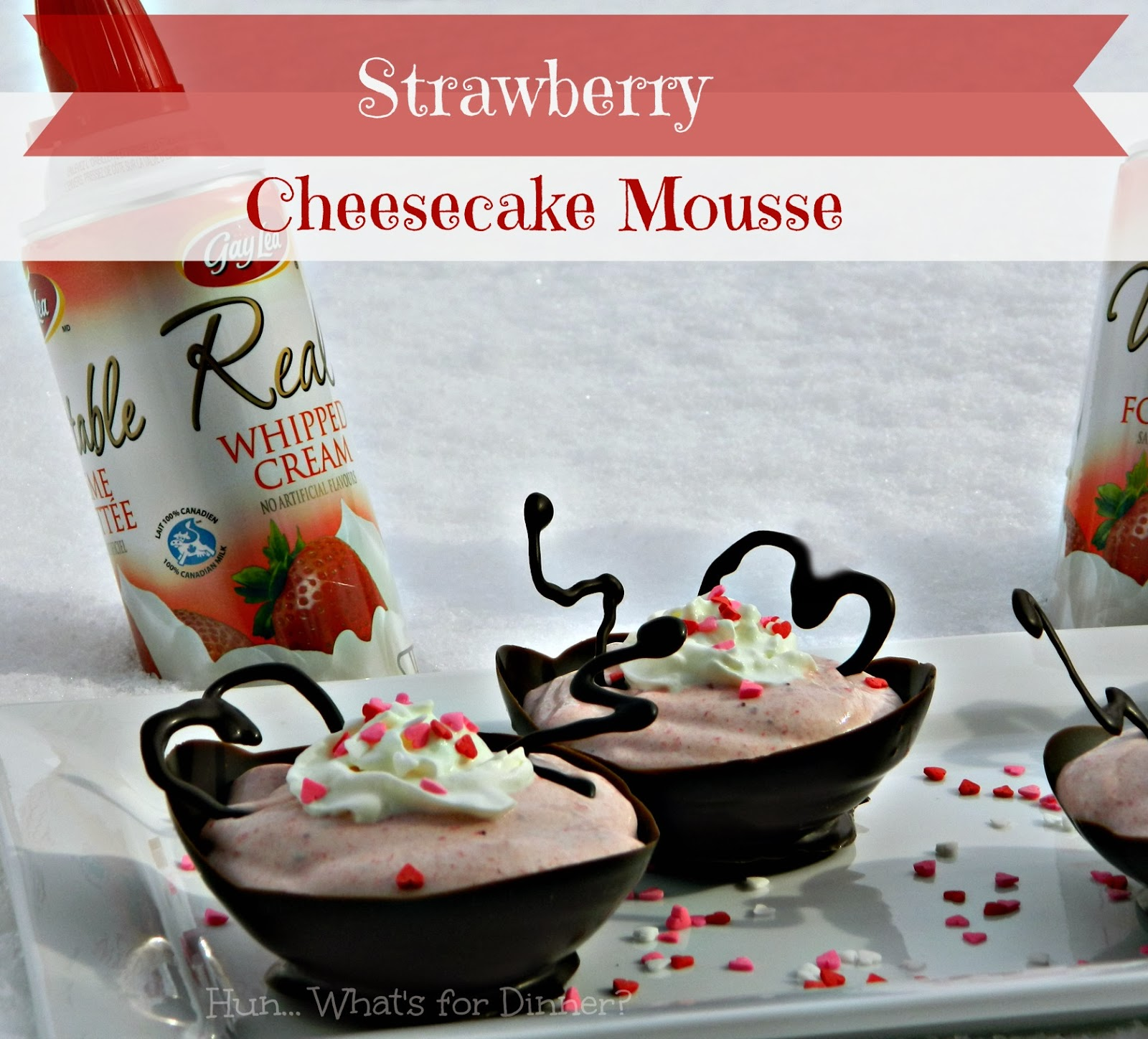 Strawberry Cheesecake Mousse in Chocolate Bowls- www.hunwhatsfordinner.com
