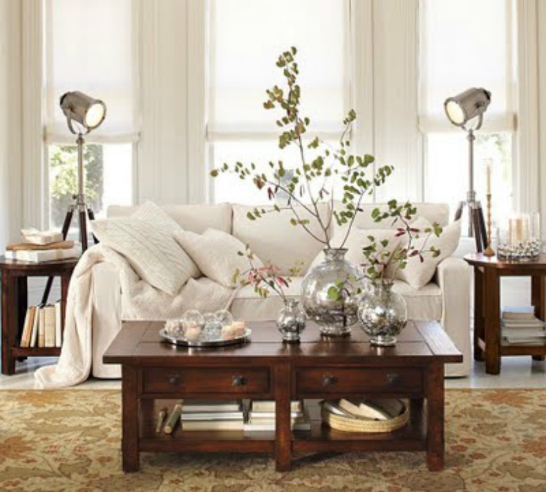 white slipcover sofa in coastal room with silver accessories