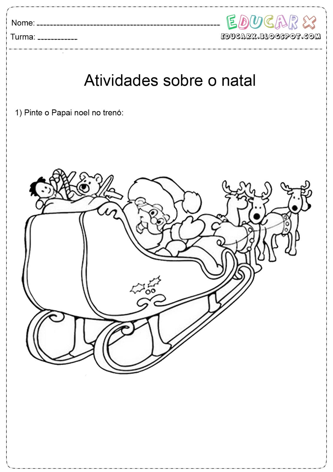 Desenho do trenó do Papai Noel para colorir Hello Kids - imagens de papai noel no trenó para colorir