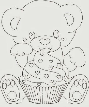 desenho de ursinho com cupcake para pintar