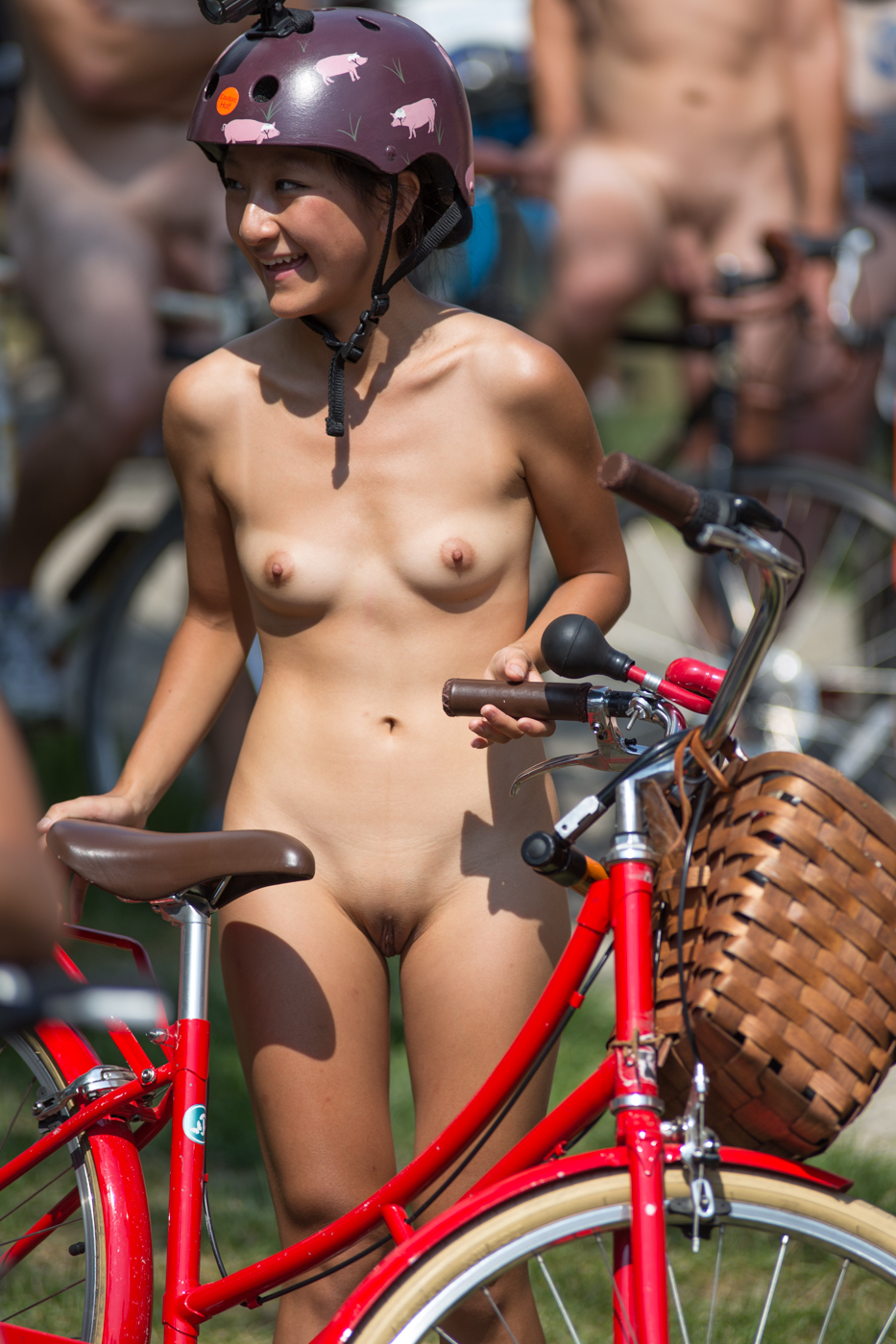 Asian riding bikes nude have