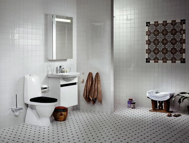 Сантехника на фото: мебель Gustavsberg Nautic для ванной комнаты, смесители Gustavsberg, унитаз Gustavsberg Nautic Duo 5510, аксессуары Gustavsberg