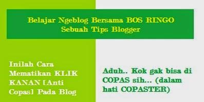 Inilah Cara Mematikan KLIK KANAN [Anti Copas] Pada Blog