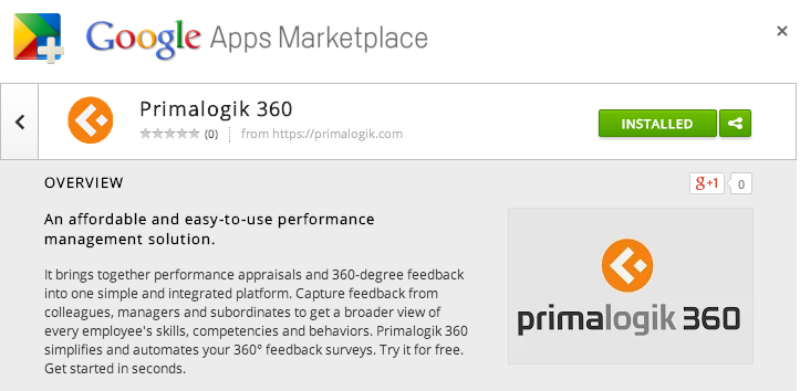 Primalogik 360 on the Google Apps Marketplace
