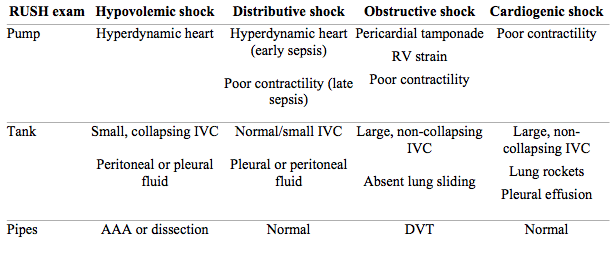 Rush Protocol Rapid Ultrasound For Shock And Hypotension