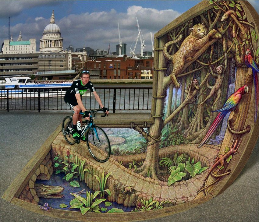 24-Rainforest-on-the-Thames-Kurt-Wenner-3D-Street-Pavement-Art-Painting-www-designstack-co