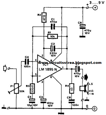 simple timi amplifier using lm1895n circuit diagram