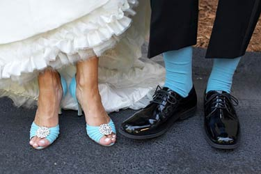 Something Blue Wedding Ideas - Blue Shoes Bride and Blue Socks Groom
