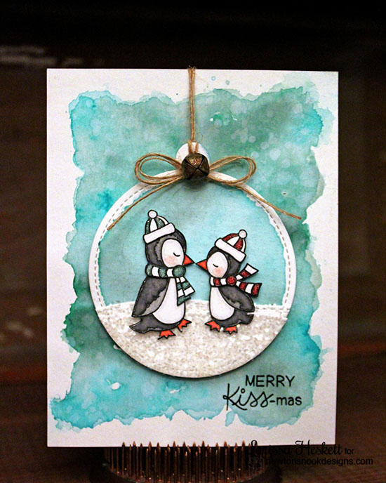 Kissing penguins Christmas Card by Larissa Heskett | Holiday Smooches Stamp set by Newton's Nook Designs #newtonsnook