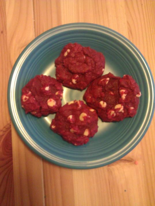 Red Velvet White Chocolate Chunk Cookies