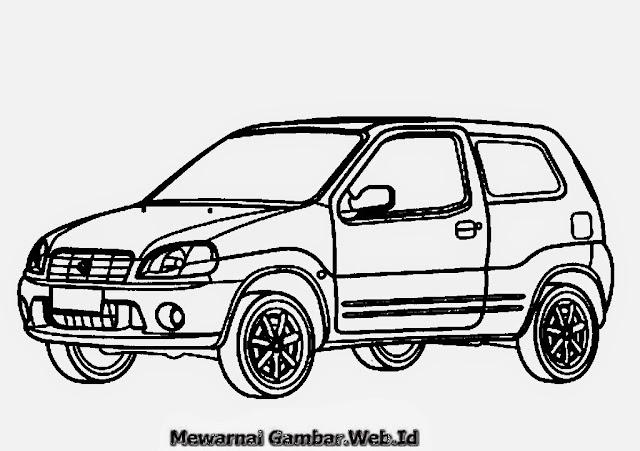 Gambar Mewarnai Mobil Sedan