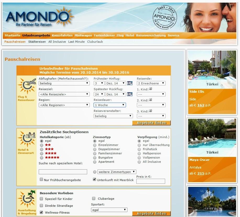 Suchmaske im Online-Reiseportal - online Urlaub buchen!