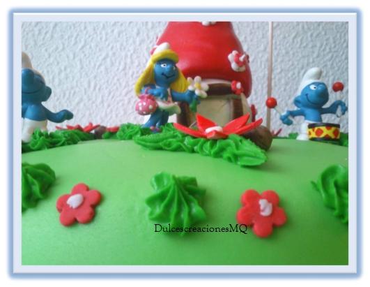 Tarta Cumpleaños Pastel Pitufos Fondant Aniversario Niño Pitufina Hongos