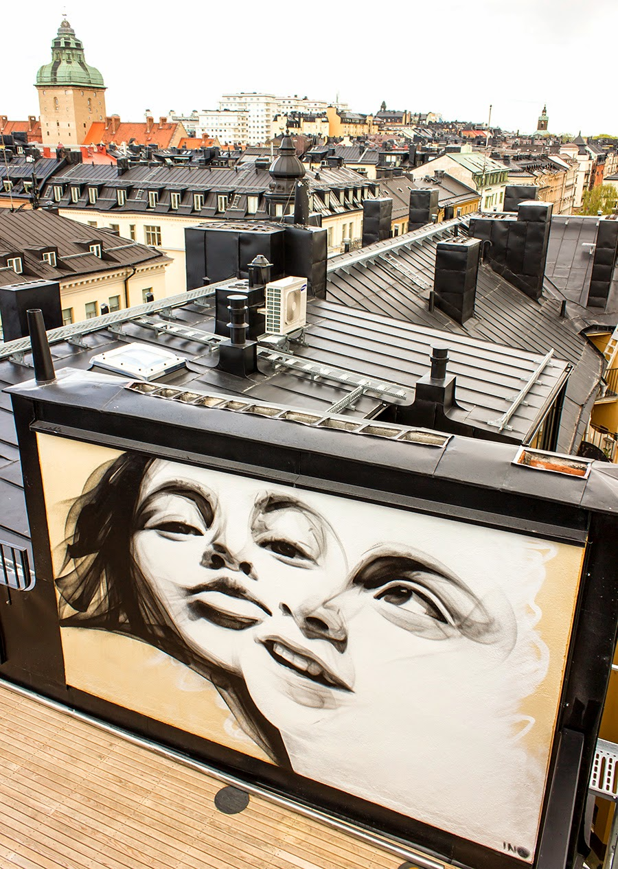 iNO is currently in Sweden where he just finished working on this new rooftop piece somewhere in Stockholm. 1