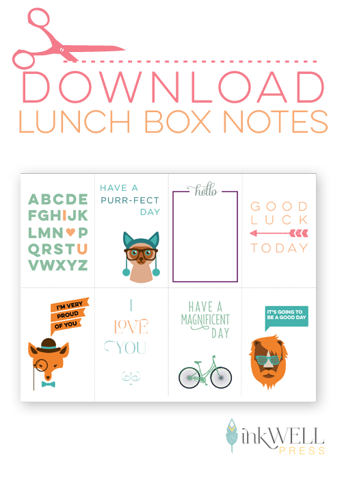Free download printable of lunch box notes for you to print and put in your kids lunch.