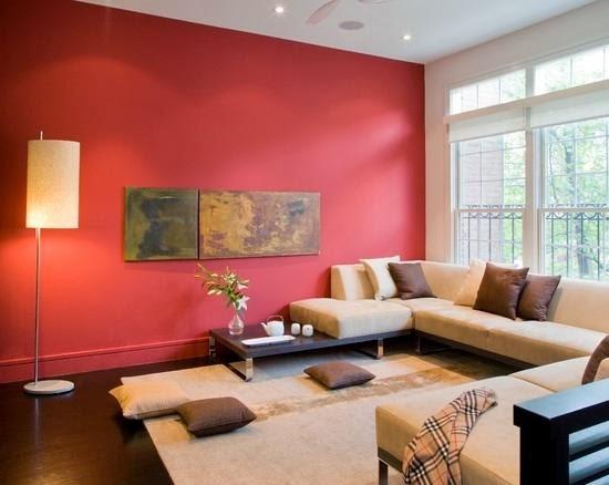 ruang tamu dengan warna merah