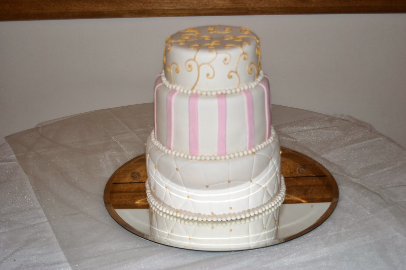 All Tiered Up Pink and Gold Wedding Cake