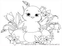 Gambar Anak Ayam Dikebun Bunga