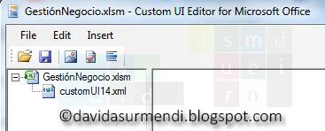 Archivo XML de personalización insertado en el documento de Excel