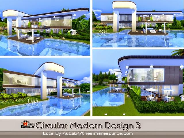 Casa moderna circular design the sims 4 pirralho do game for Sala de estar sims 4