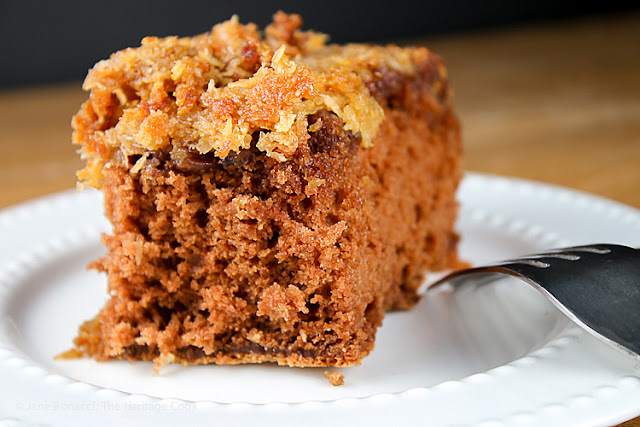 Featured Recipe | Upside Down German Chocolate Cake (Gluten-Free) from The Heritage Cook #dessert #cake #glutenfree #SecretRecipeClub #recipe