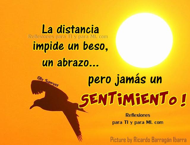 La distancia  impide un beso, un abrazo... pero jamás un SENTIMIENTO!