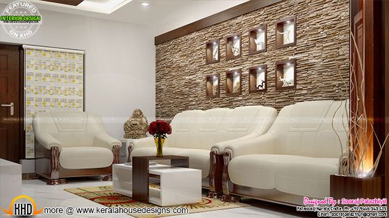 Living room wall decor - Kerala apartment interior