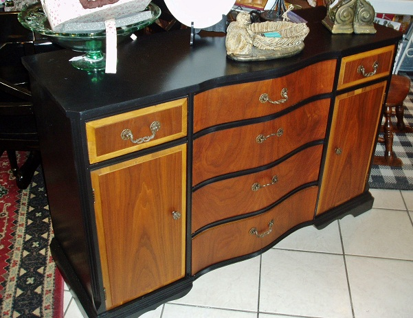 Vintage Dining Room Buffet   Refinished Wood + Hand Painted Black