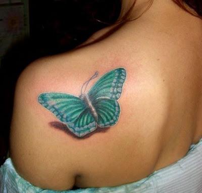 Tatuagem de borboleta feminina, ombro, 3D