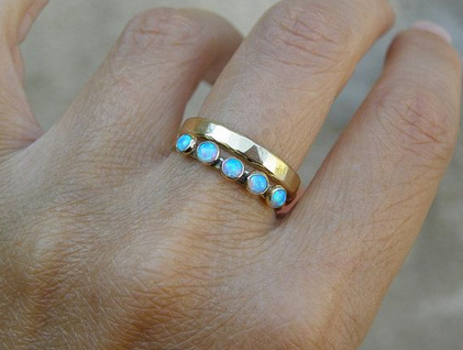 Engagement Ring Opal Ring With Diamonds Rose Gold