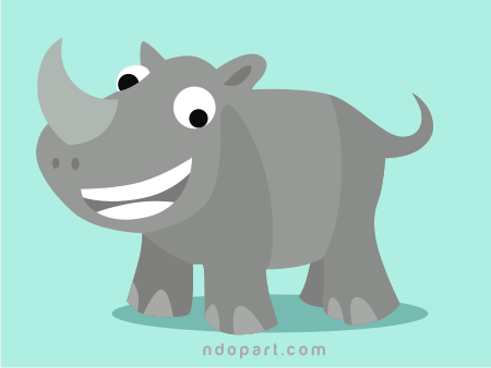 Download Vector: Rhinoceros Cartoon