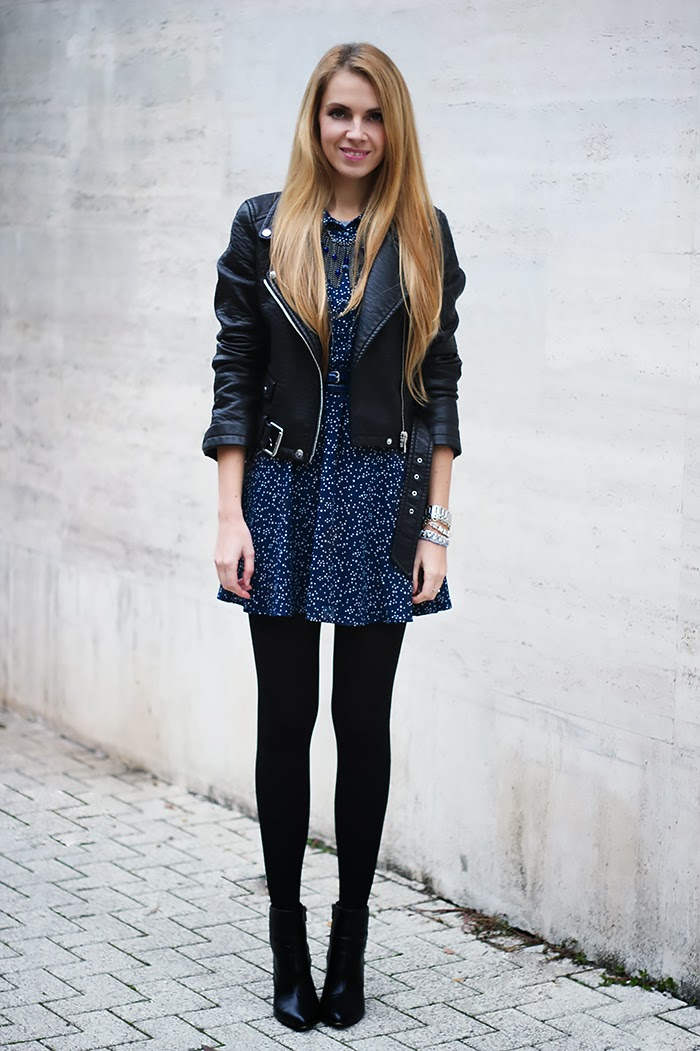 summer to fall dress, autumn, outfit, biker leather jacket, blue and black