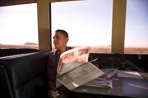 Obama on campaign bus