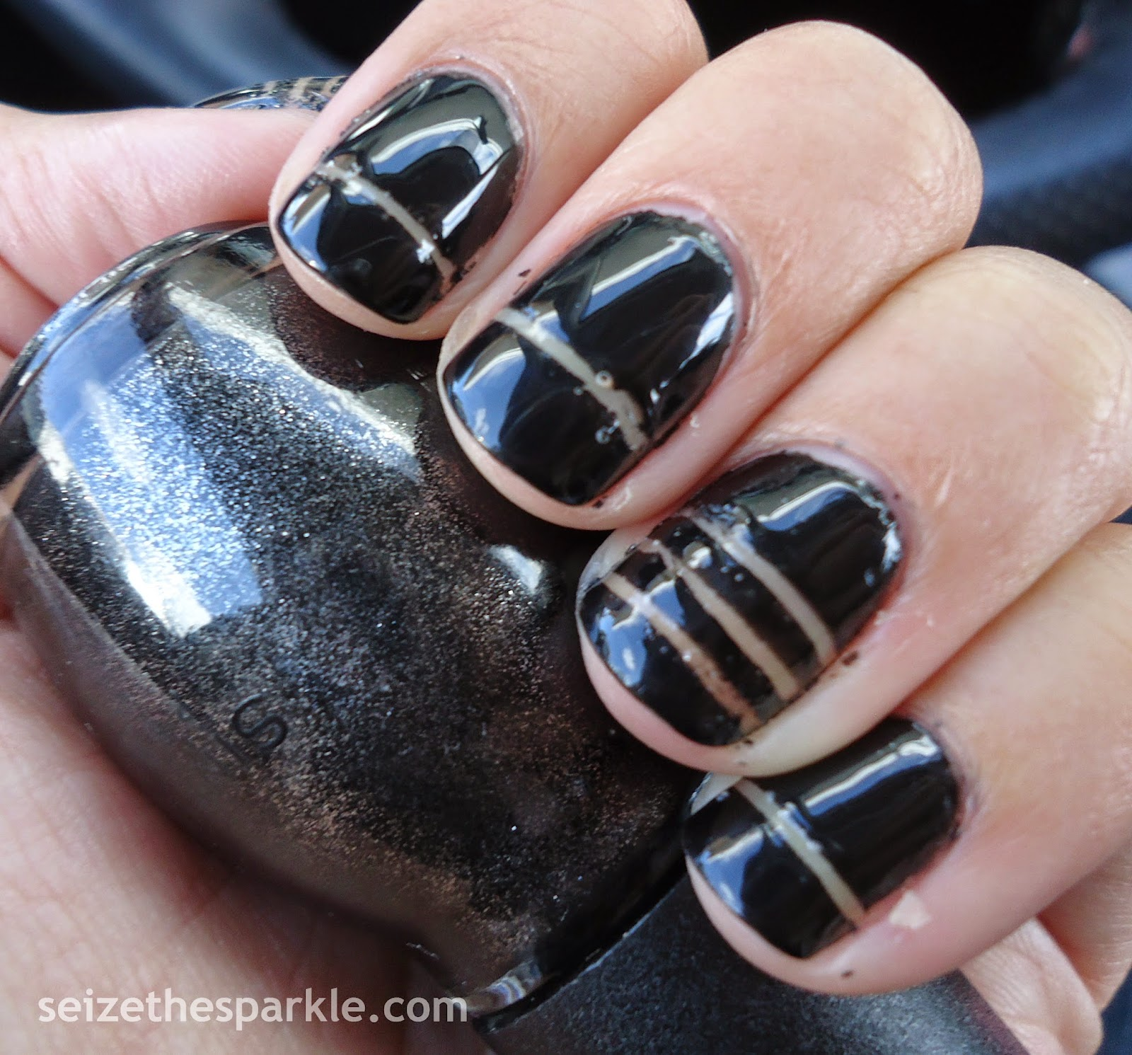 Black Striping Tape Manicure