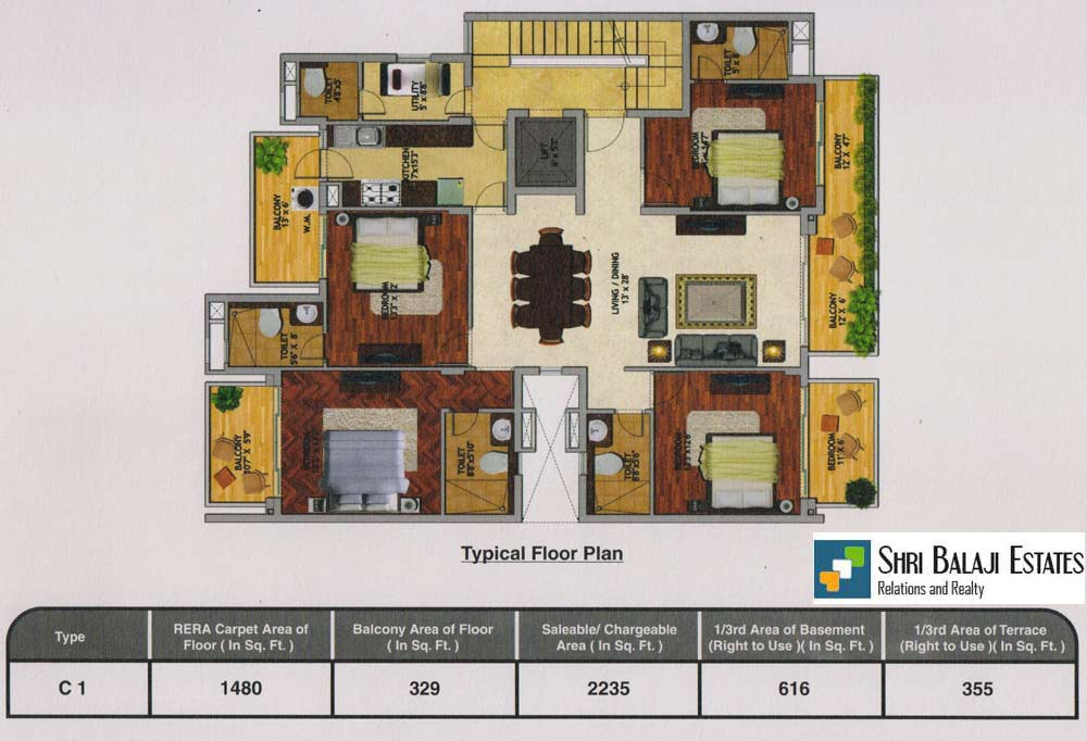 Floor Plan  ( 4BHK + SR - C1  )