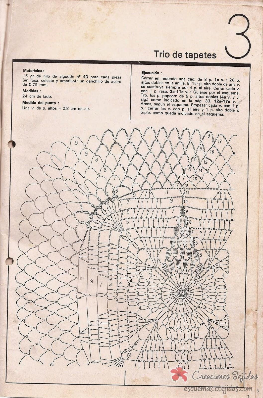 Trio de Tapetes a Crochet