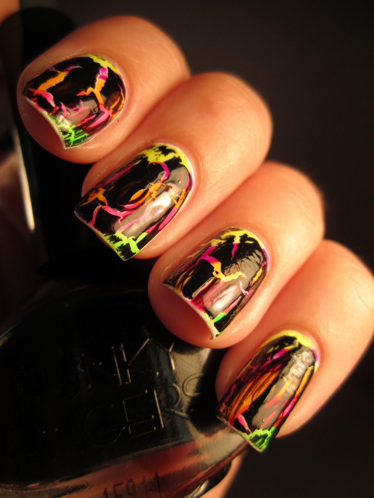 Neon Stripes And Black Crackle Lisa Frank Inspired Nails